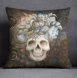 Steampunk Clock and Floral Skull Decorative Throw Pillow Cover