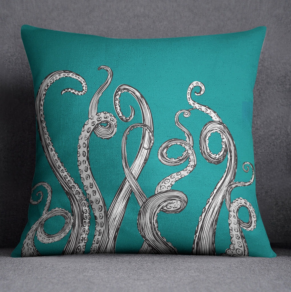 Teal Octopus Tentacle Throw Pillow