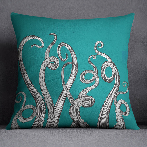 Teal Octopus Tentacle Decorative Throw Pillow Ink And Rags