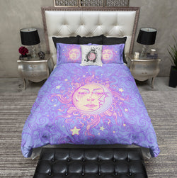 Boho Windy Day Sun and Moon Bedding