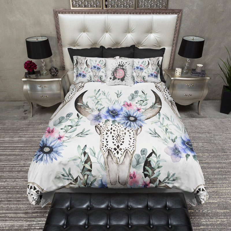 Watercolor Flowers and Lace Bull Skull Bedding
