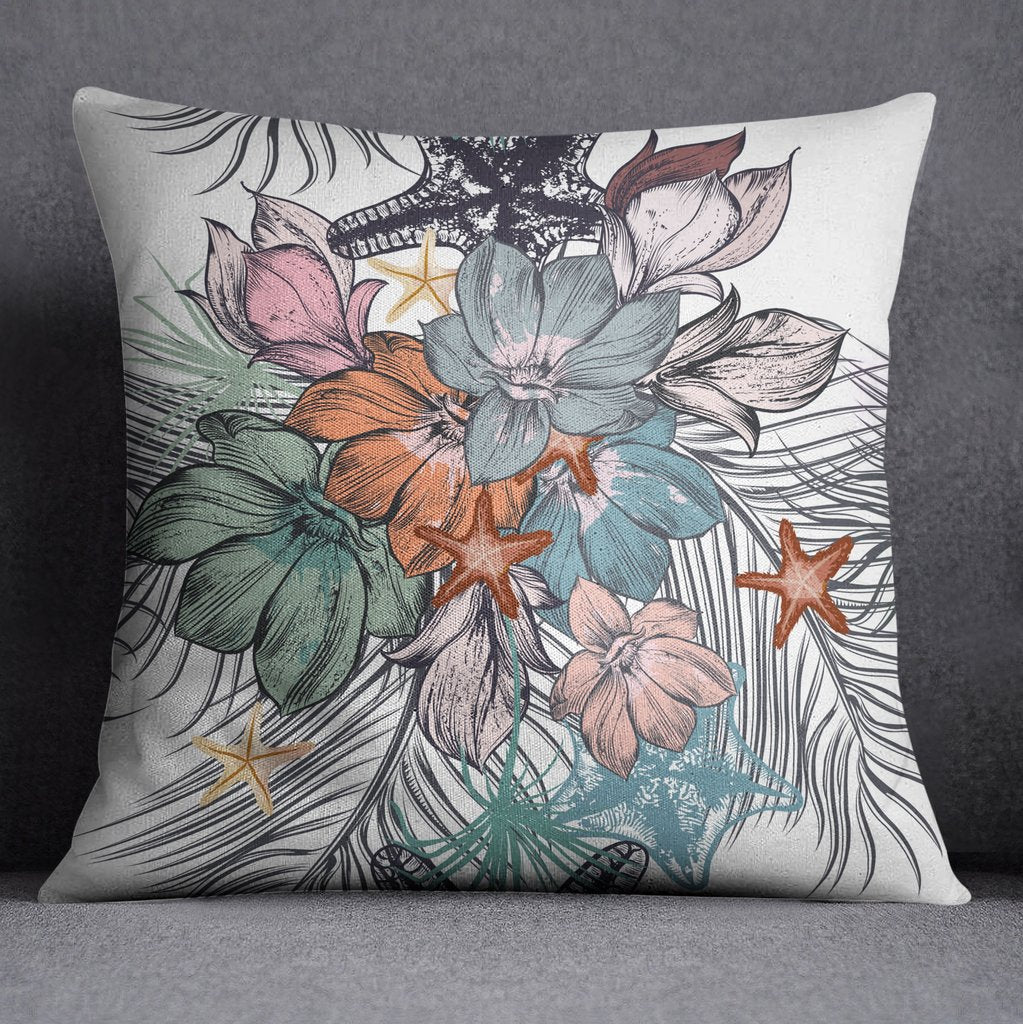Tropical Flower and Starfish Throw Pillow