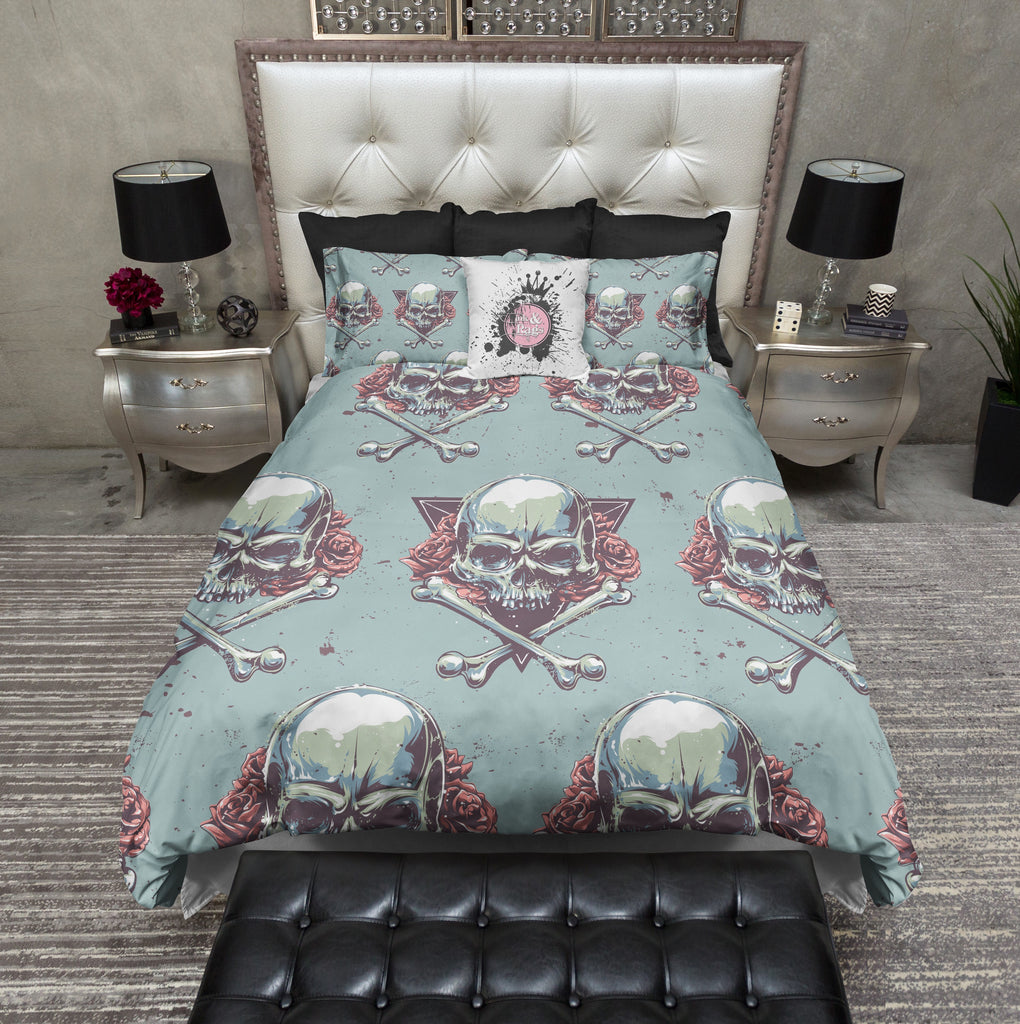 Sinister and Sweet Triangle Rose Skull and Crossbone Bedding Collection