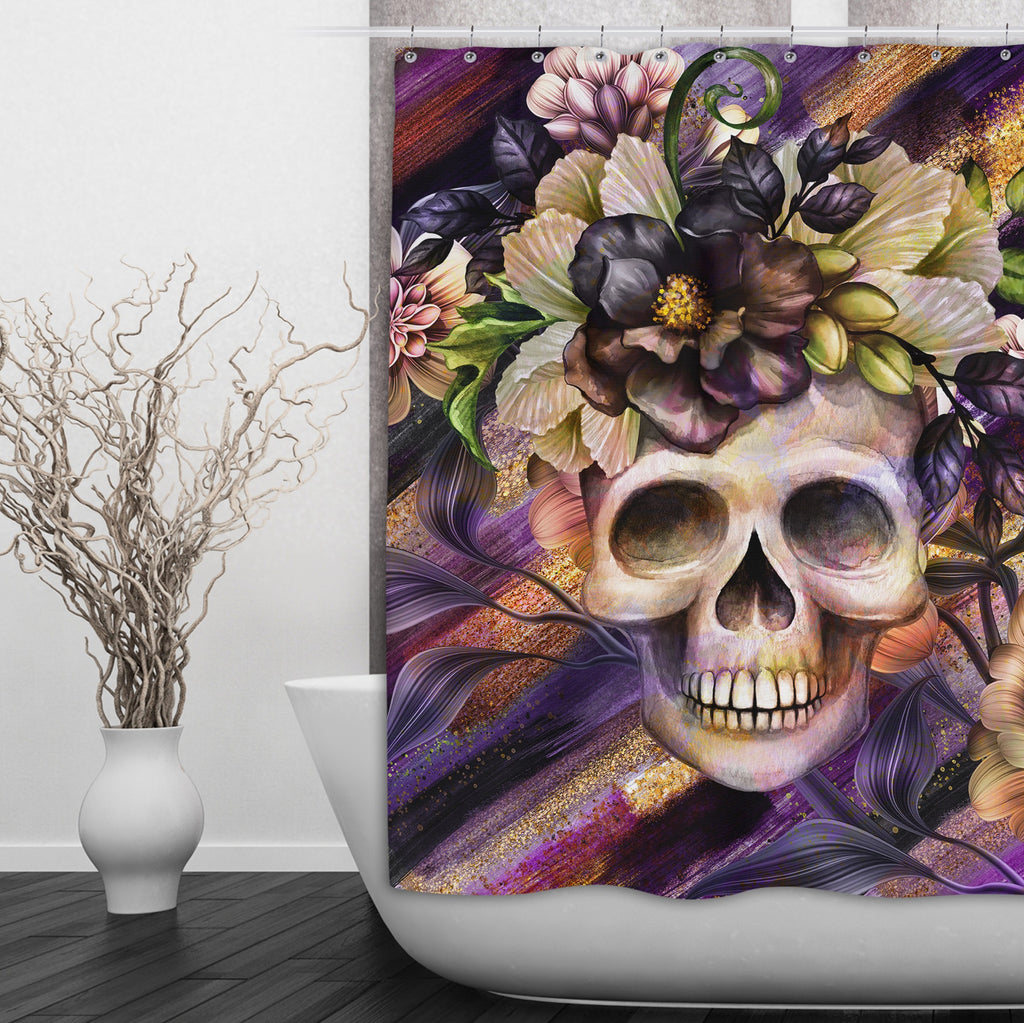 Plum and Gold Floral Skull Shower Curtains and Optional Bath Mats