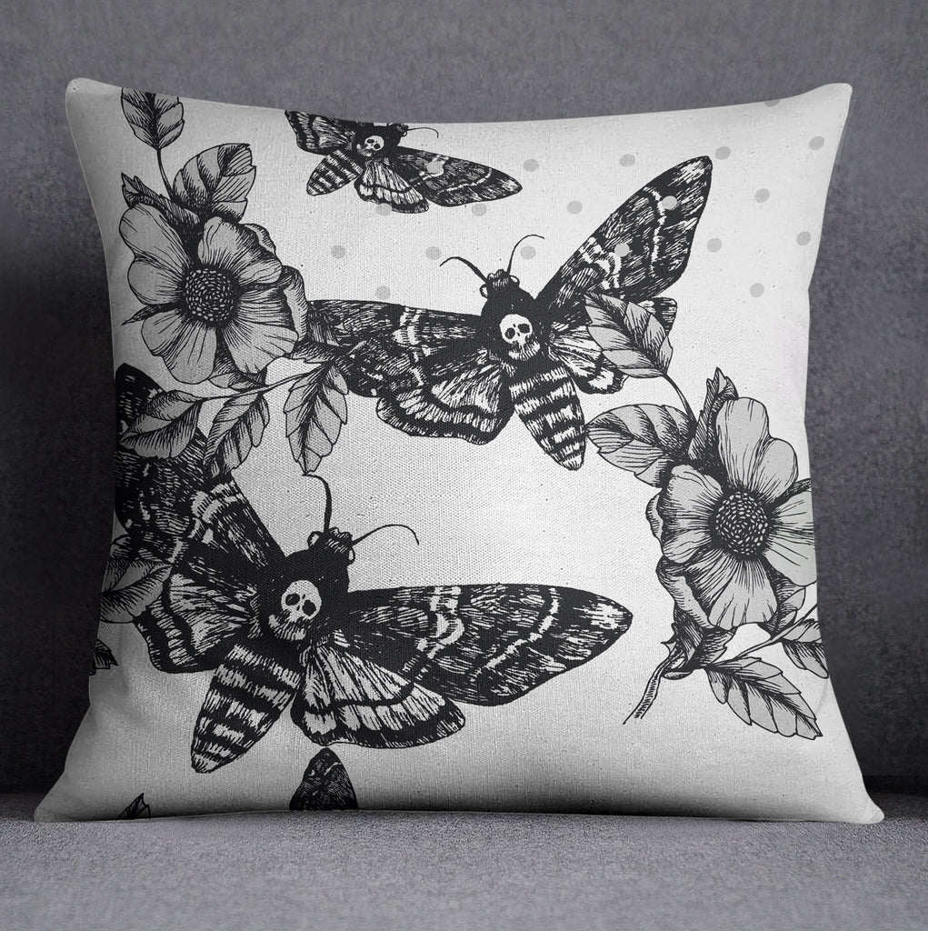 Death Moth Throw Pillow