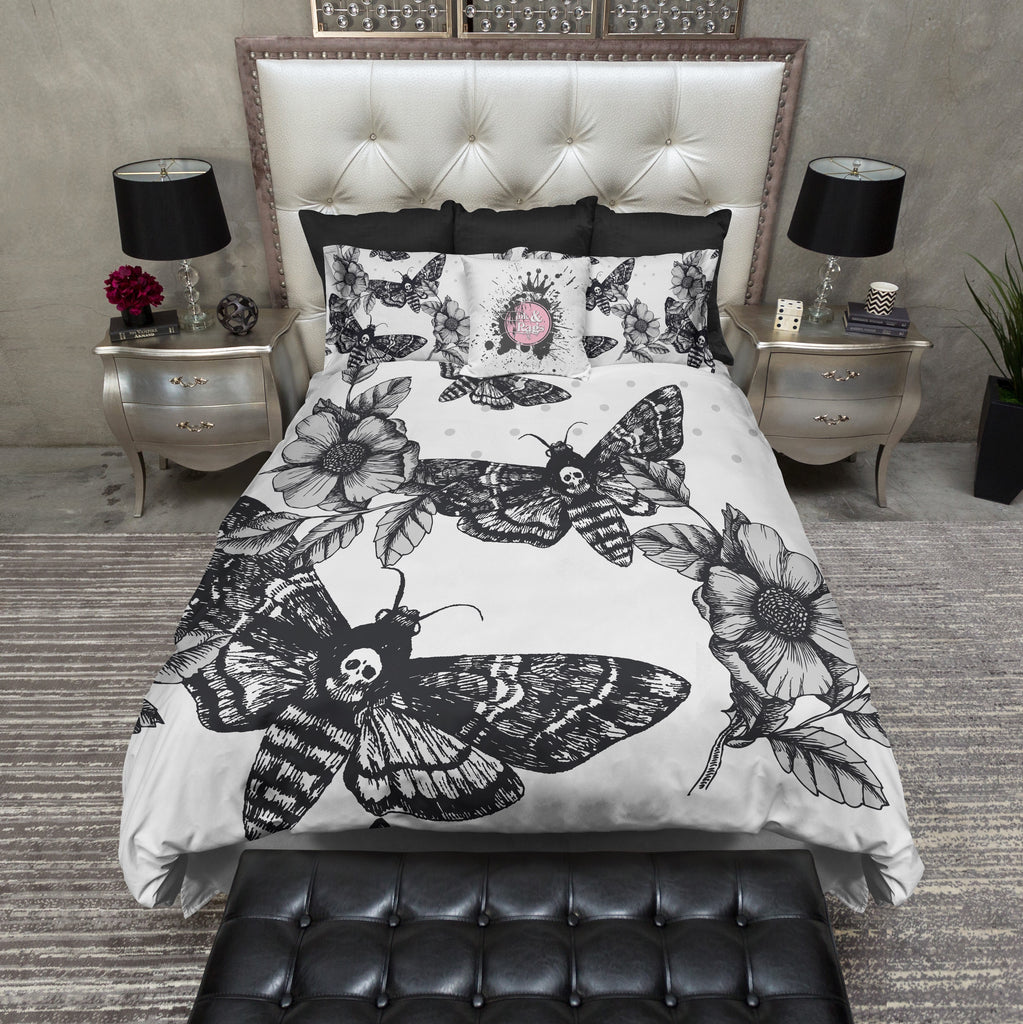 Death Moth and Flower WHITE Bedding Collection