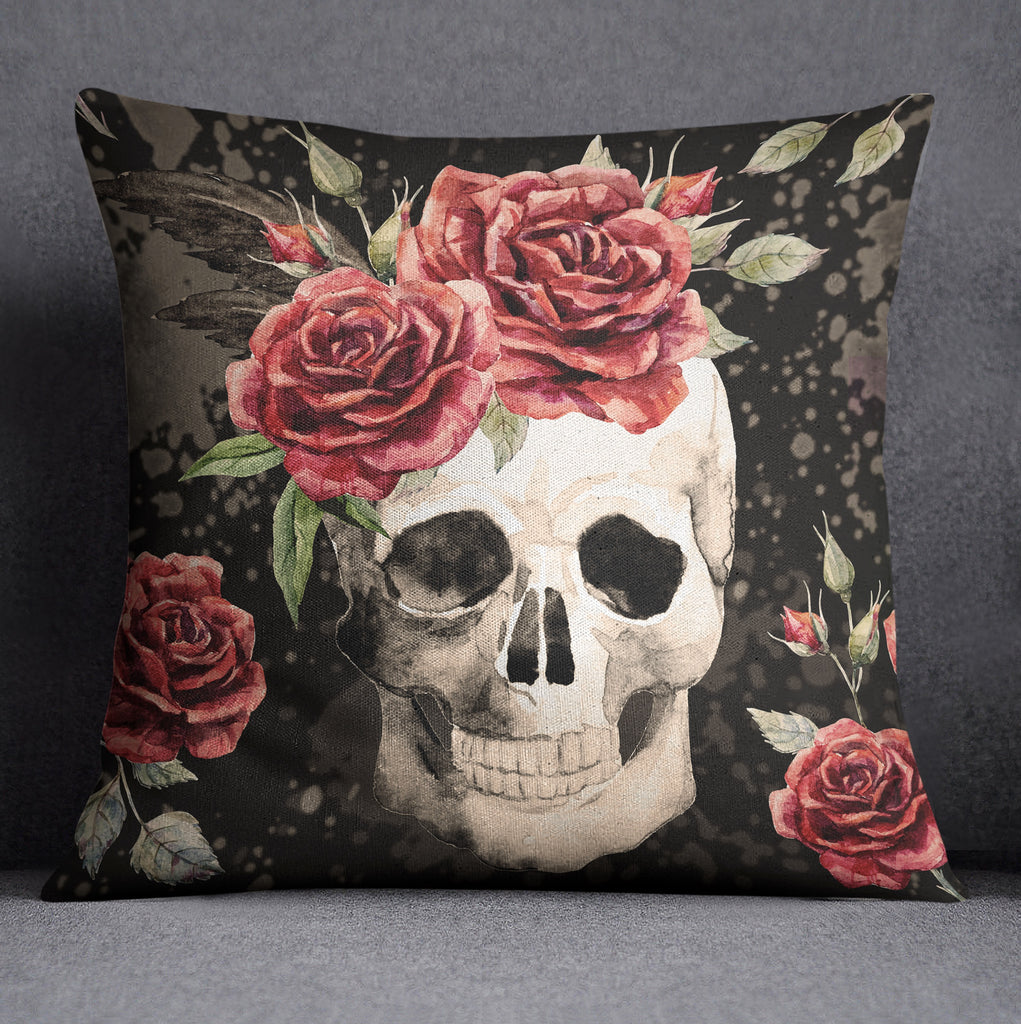 Antiqued Red Rose Skull Throw Pillow