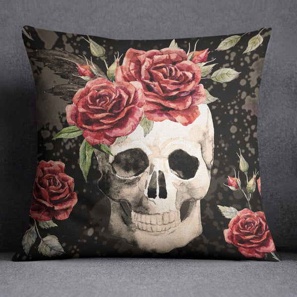 Antiqued Red Rose Skull Decorative Throw Pillow Cover