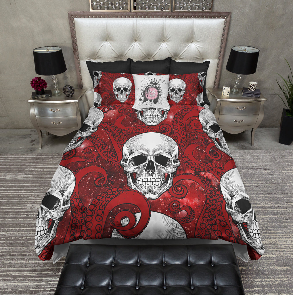 Red Octopus Tentacle Red Galaxy and Skull Bedding Collection