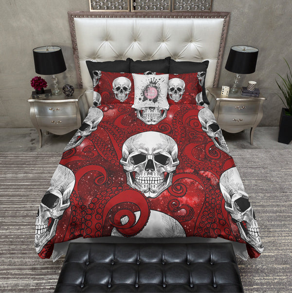 Red Octopus Tentacle Red Galaxy and Skull Bedding