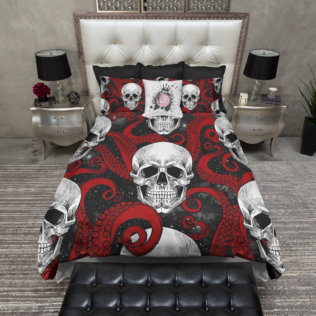 Red Octopus Tentacle Black Galaxy and Skull Bedding Collection