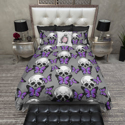 Purple Butterfly Skull Duvet Bedding Sets
