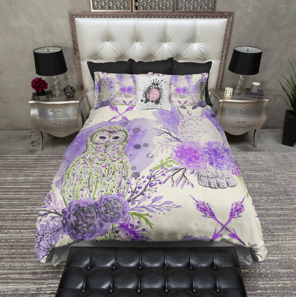 Purple and Green Watercolor Owl Bedding CREAM