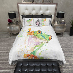 Watercolor Tree Frog Duvet Bedding Sets