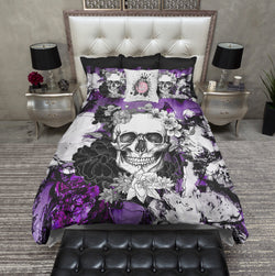Abstract Purple Flower Skull Bedding