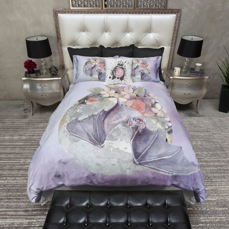 Lavender Fruit Bat Moon and Flower Bedding