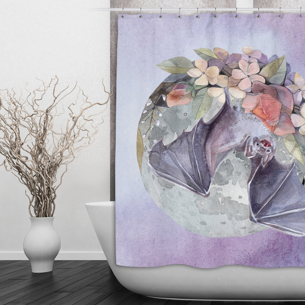 Lavender Fruit Bat Moon and Flower Shower Curtains and Optional Bath Mats