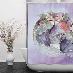 Lavender Fruit Bat Moon and Flower Shower Curtains and Bath Mats