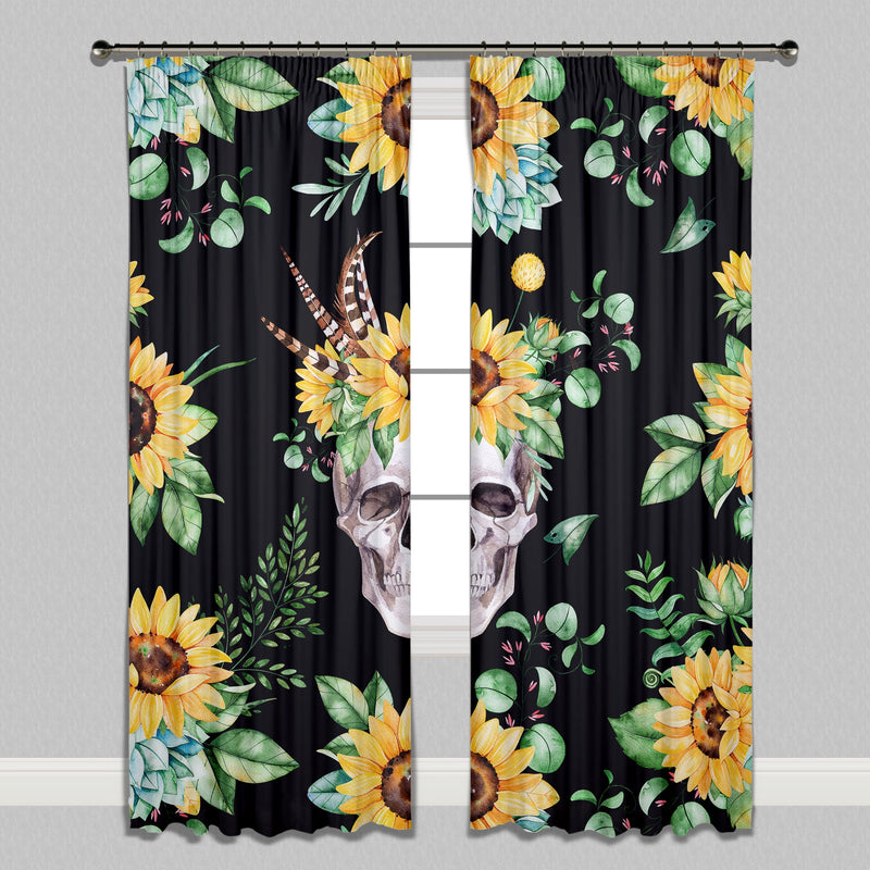 Sunflower and Human Skull on Black Curtains or Sheers