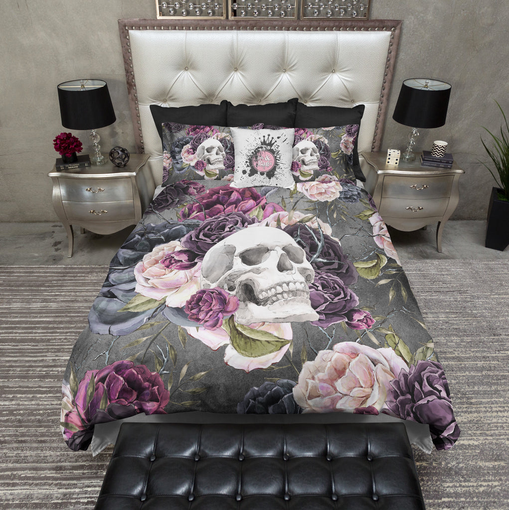 Forget Me Not Purple Rose and Skull Bedding