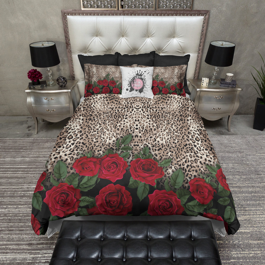 Leopard Rose Animal Print Bedding Collection