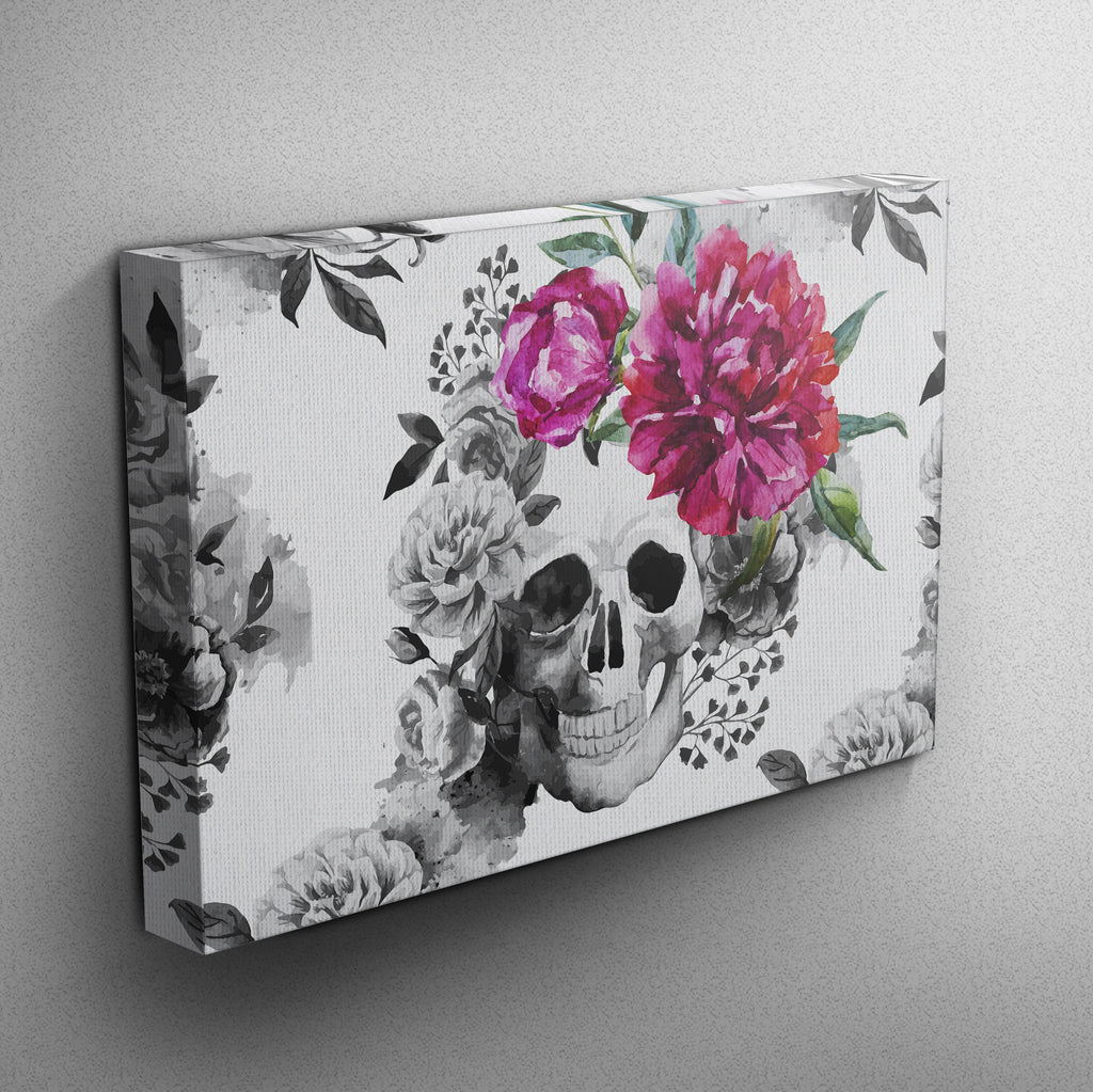 Pink Watercolor Flower and Skull Gallery Wrapped Canvas (WHITE)
