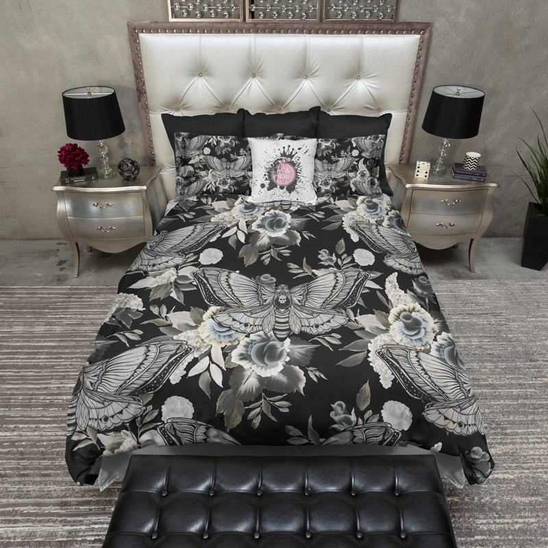 Dark Flowers and Death Moth Skull Bedding