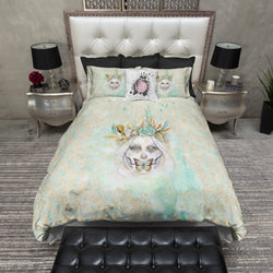 Boho Painted Lady Teal and Gold Sugar Skull Scroll Bedding