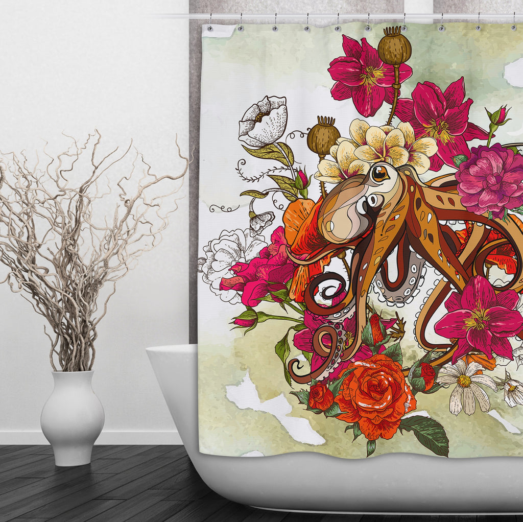 Octopus and Flowers Shower Curtains and Optional Bath Mats