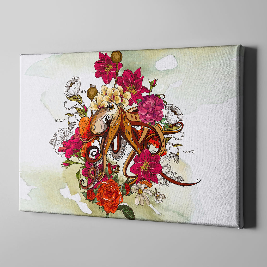 Octopus and Flowers Gallery Wrapped Canvas