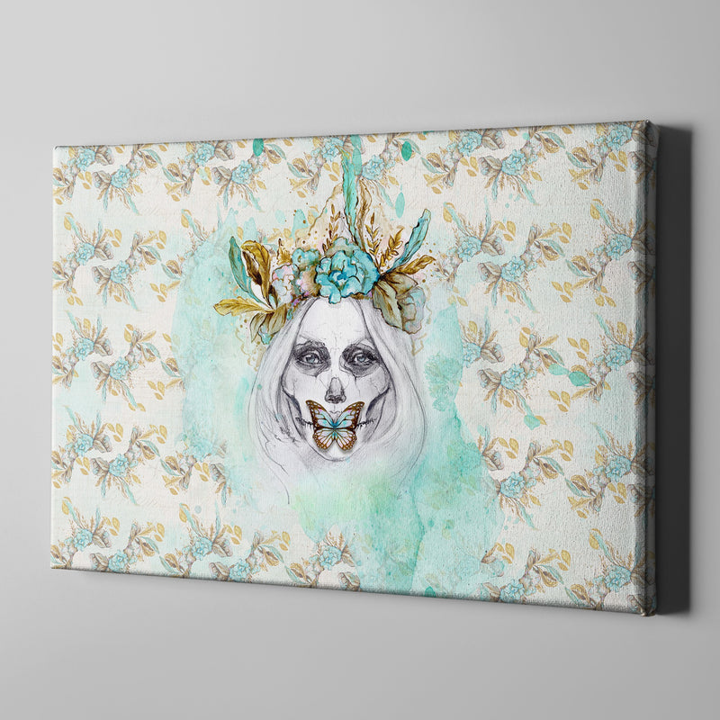 Boho Painted Lady Teal and Gold Sugar Skull Wrapped Canvas