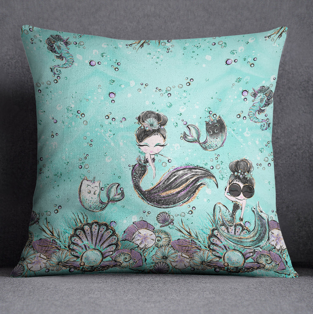 Breakfast At Tiffany Mermaid Seahorse Unicorn Fashion Decorative Throw and Pillow Cover Set