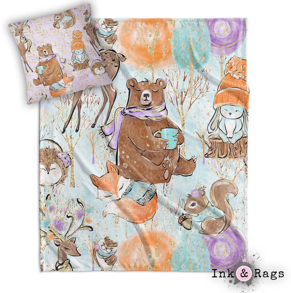 Winter Woodland Nursery Throw and Pillow Cover Set