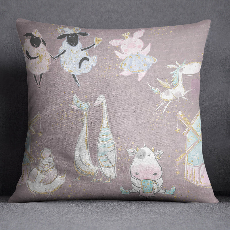 Pink Baby Fancy Farm Nursery Throw and Pillow Cover Set