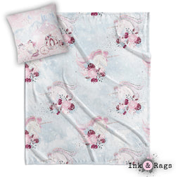Fairytale Unicorn Rose Nursery Throw and Pillow Cover Set