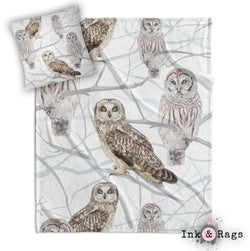 Snow and Owls Decorative Throw and Pillow Set