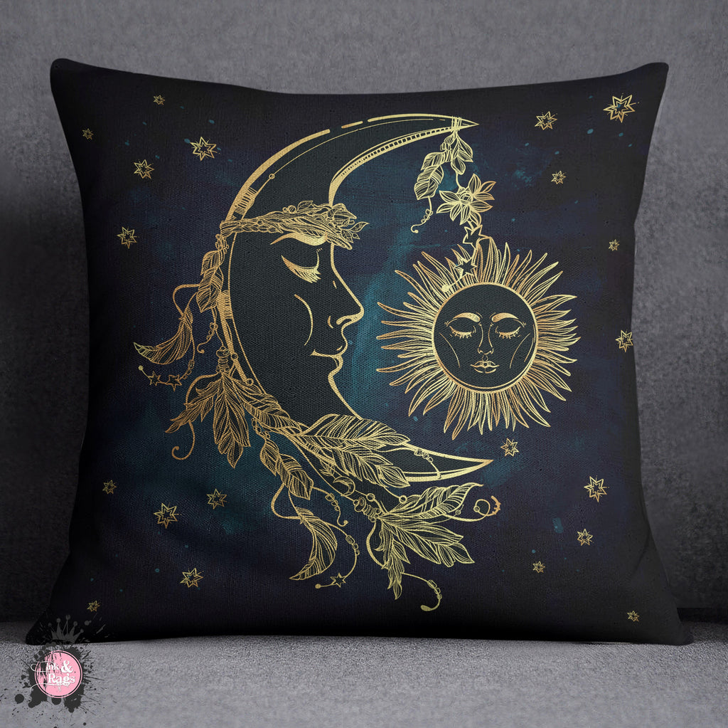 Boho Sun And Moon Blue Mandala Decorative Throw And Pillow