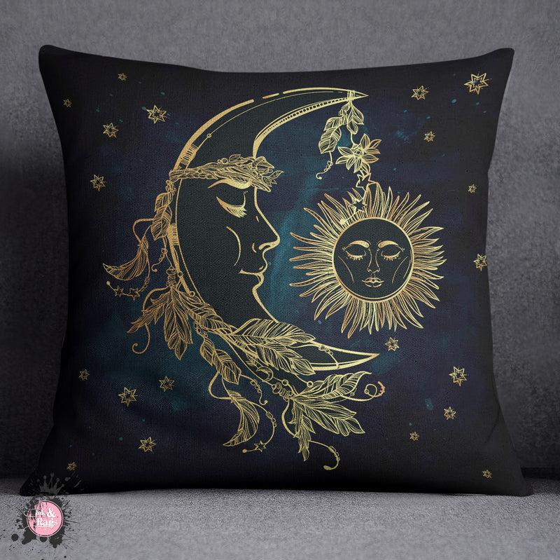 BOHO Midnight Black and Teal with Gold Sun and Moon Decorative Throw and Pillow Cover Set
