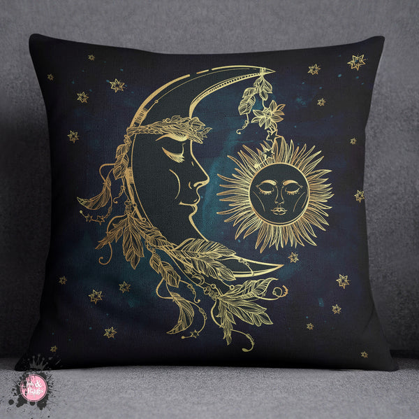 Boho Midnight Black And Teal With Gold Sun And Moon