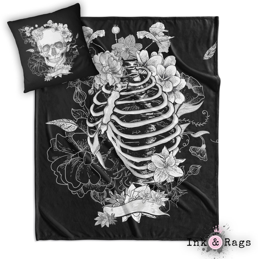 Black and White Skull and Torso Skeleton Decorative Throw and Pillow Cover Set