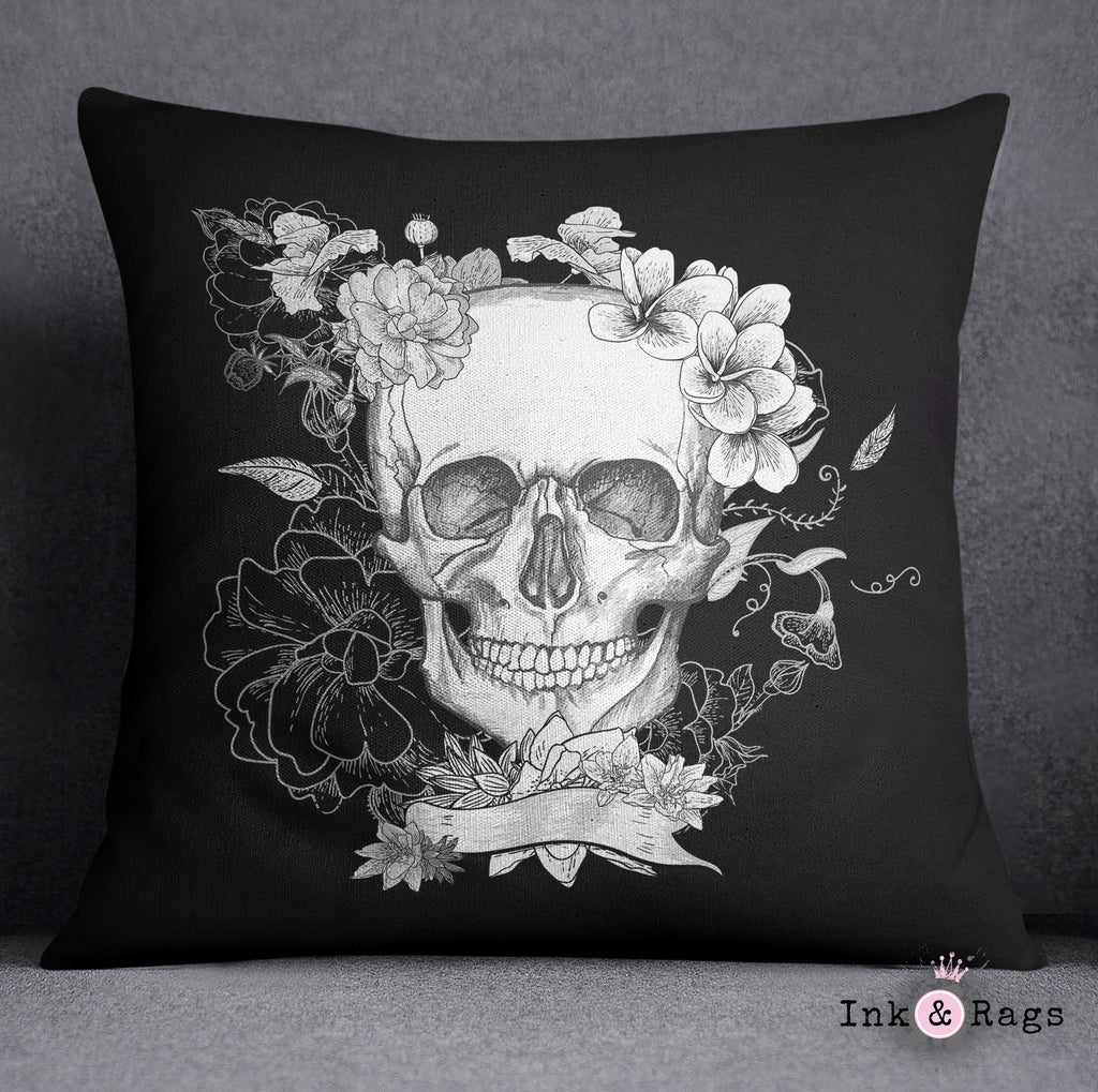 Black and White Skull and Torso Skeleton Decorative Throw and Pillow Set