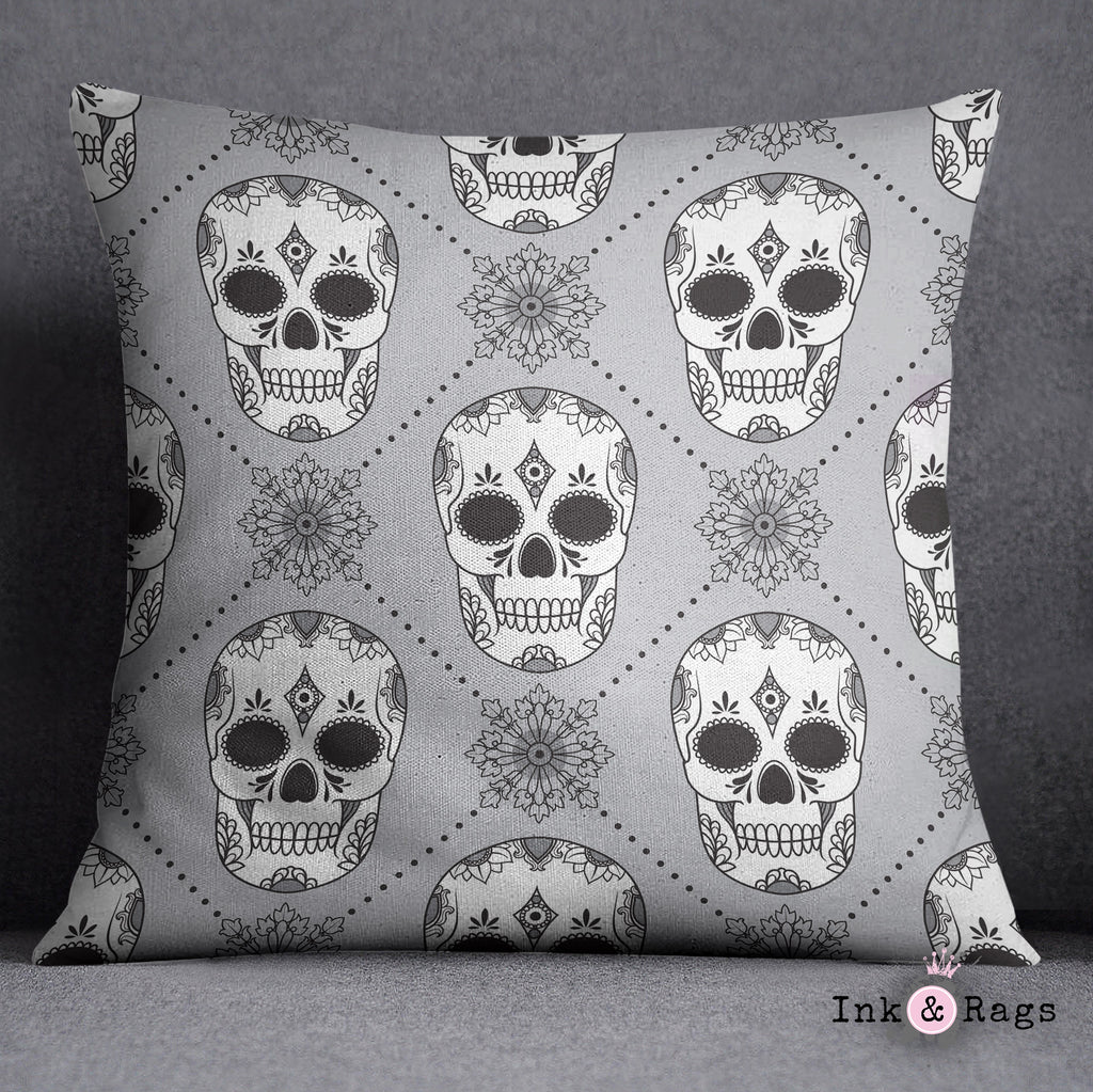 Black White and Silver Harlequin Sugar Skull Decorative Throw and Pillow Set