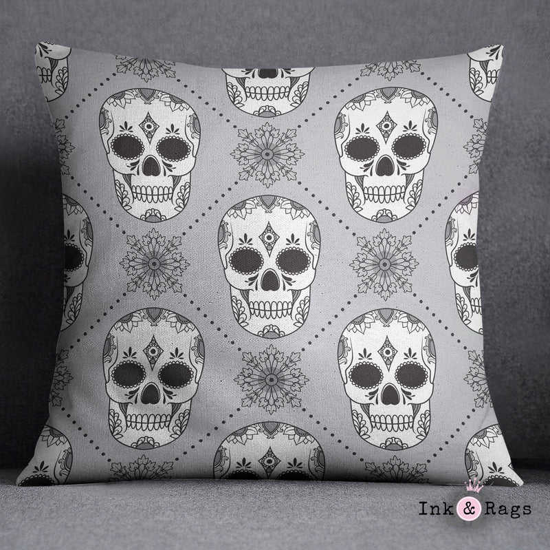 Black White and Silver Harlequin Sugar Skull Decorative Throw and Pillow Cover Set