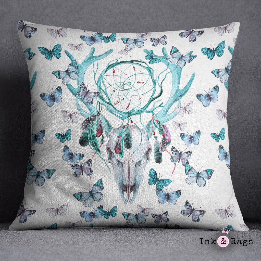 Blue Green Dreamcatcher Butterfly Buck Deer Skull Decorative Throw and Pillow Cover Set