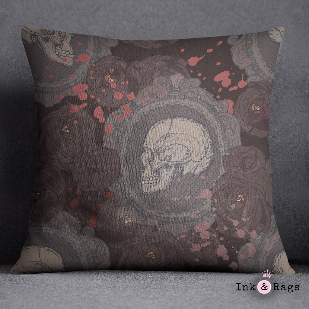 Dark Cameo Rose Decorative Throw and Pillow Set