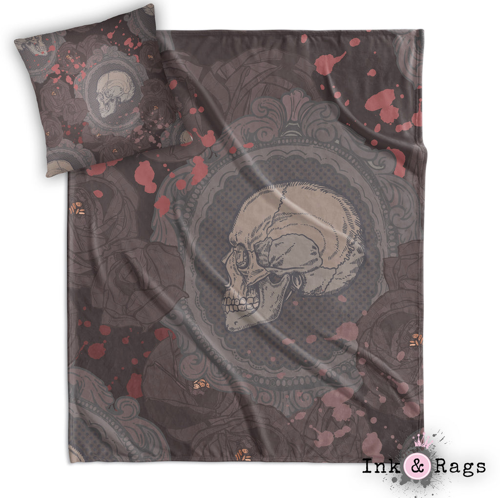 Dark Cameo Rose Skull Decorative Throw and Pillow Cover Set