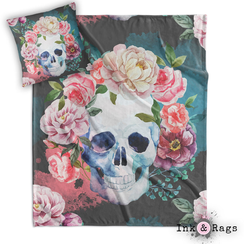 Green and Grey Watercolor Skull Decorative Throw and Pillow Cover Set