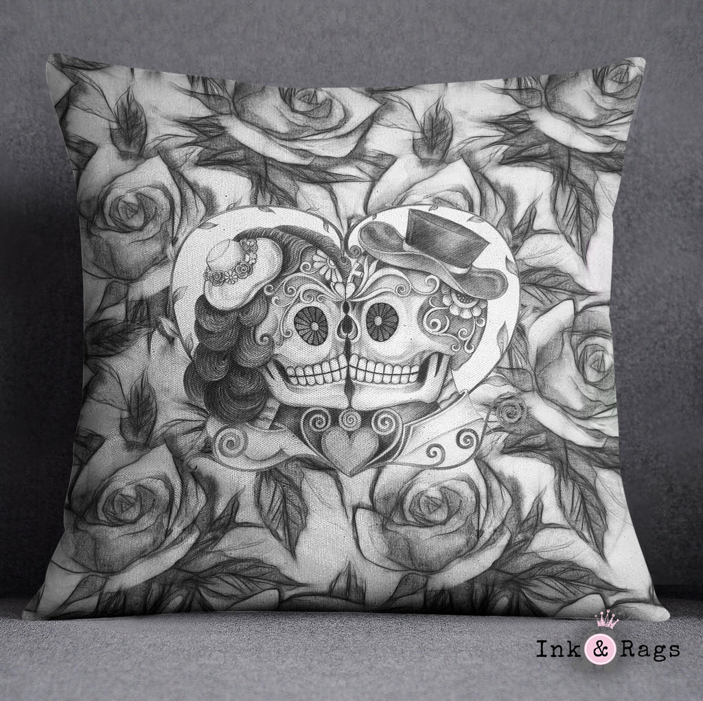 Kissing Couple Black and White Sugar Skull Rose Decorative Throw and Pillow Cover Set