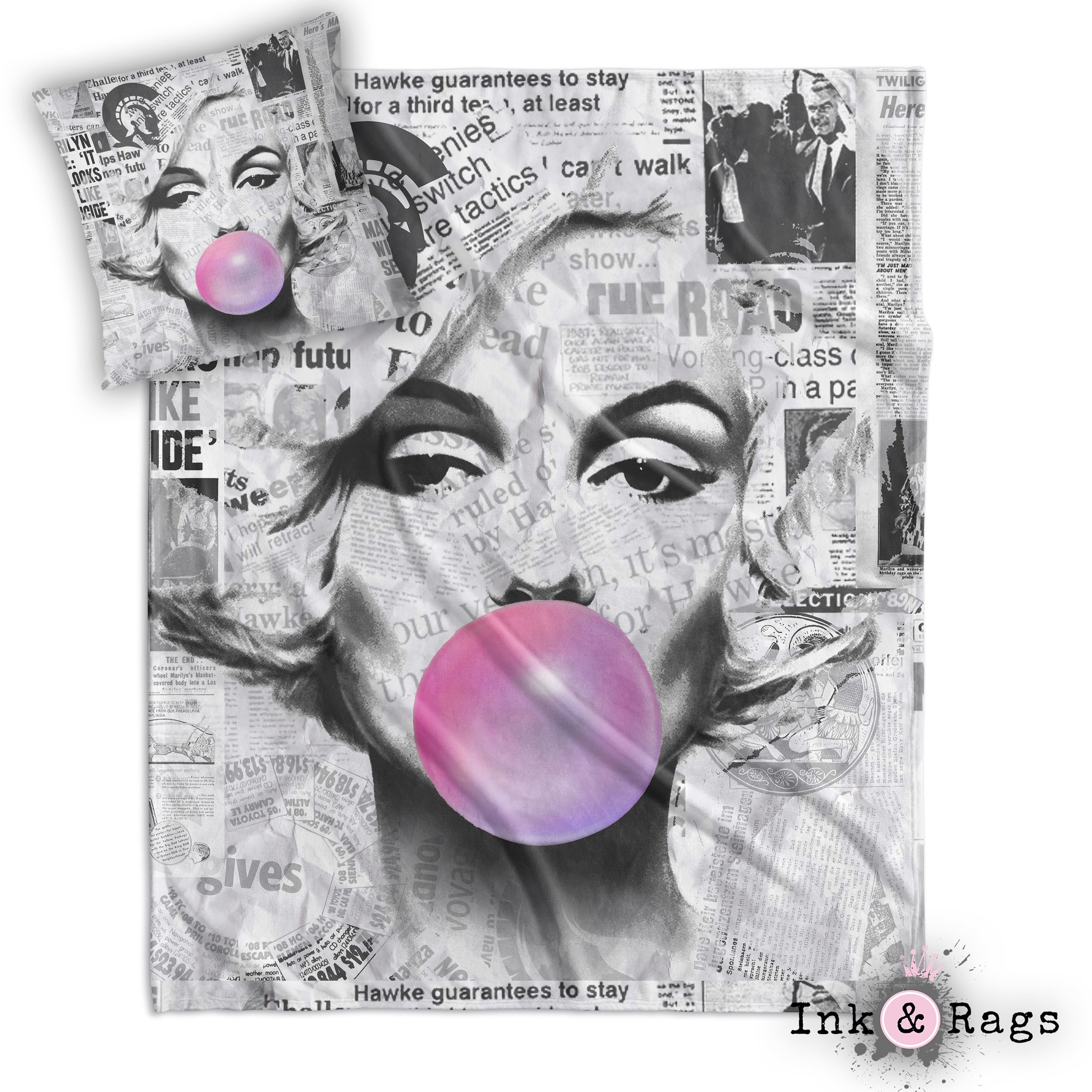Marilyn Monroe Bubble Gum News Print Decorative Throw and Pillow Set ...