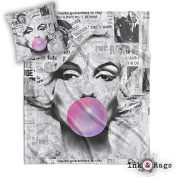 Marilyn Monroe Bubble Gum News Print Decorative Throw and Pillow Set